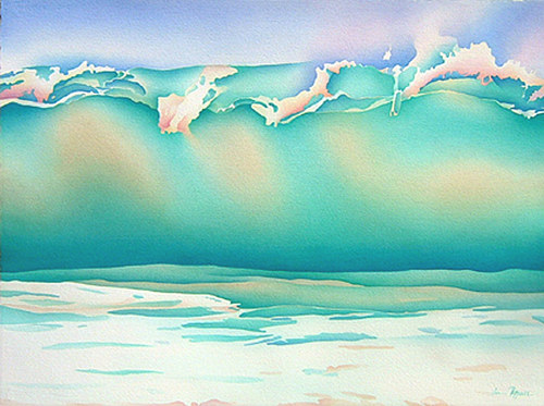 A watercolor painting of a breaking wave