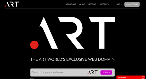 A screen capture of the .ART domain website