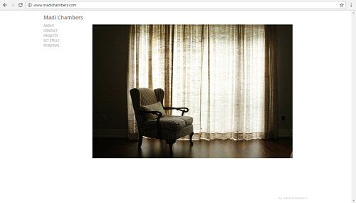 A screen capture of Madi Chambers' photography website
