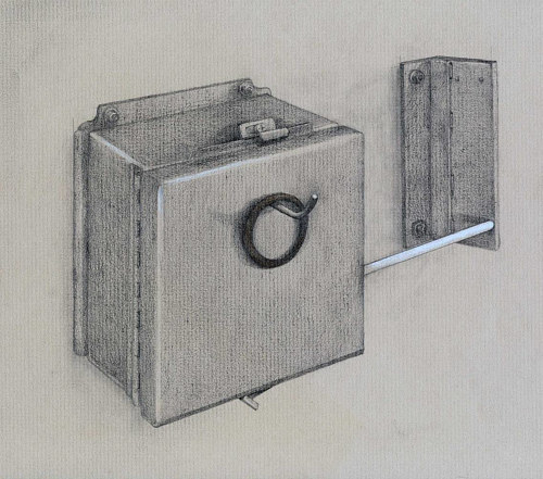 A drawing of a small box attached to a wall
