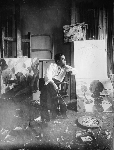 A photograph of Francis Picabia in his studio