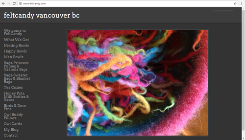 The website of Vancouver-based textile art studio FeltCandy