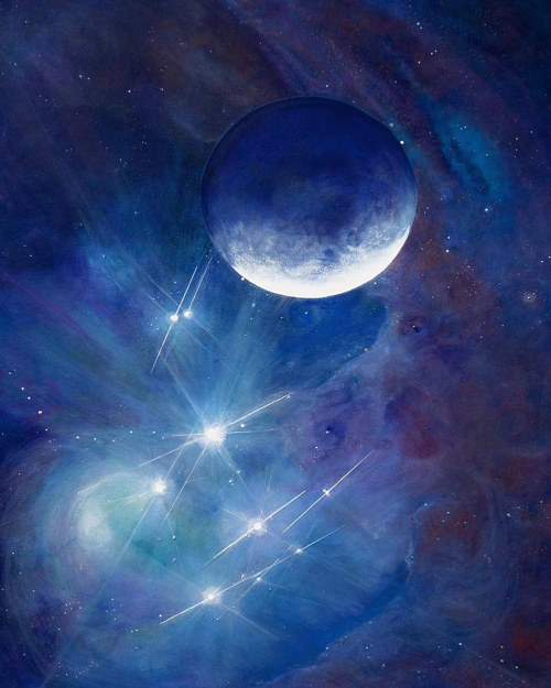 A painting off the moon in front of the Pleiades constellation