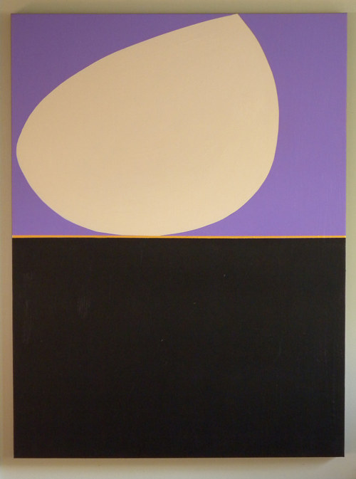 An abstract painting with two monochromatic shapes