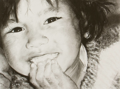 A charcoal portrait of a young girl