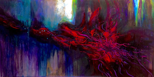 An abstract painting in deep purple and red hues