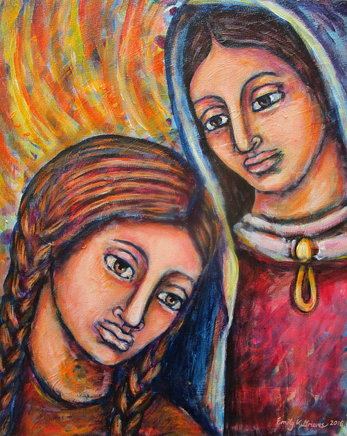 A painting of two women by Emily K. Grieves