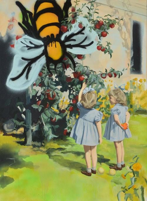 A painting of two young girls in front of a stylized bee