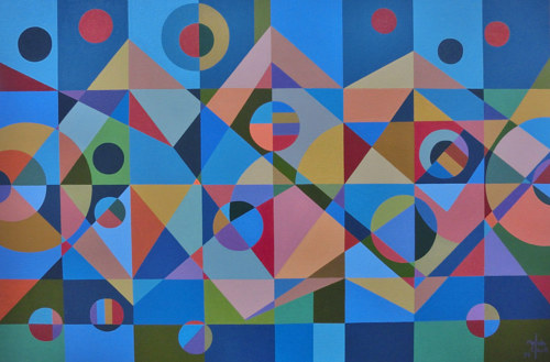 An abstract painting with overlapping geometric forms