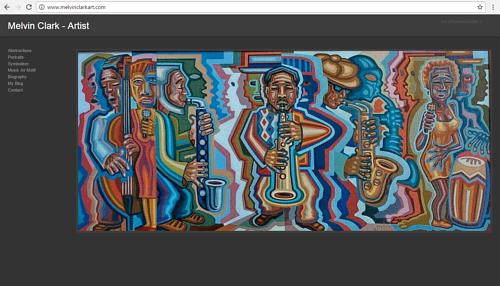 A screen capture of Melvin Clark's art website