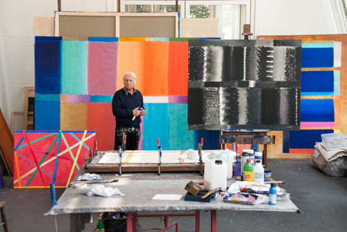 A photo of Heinz Mack in his studio