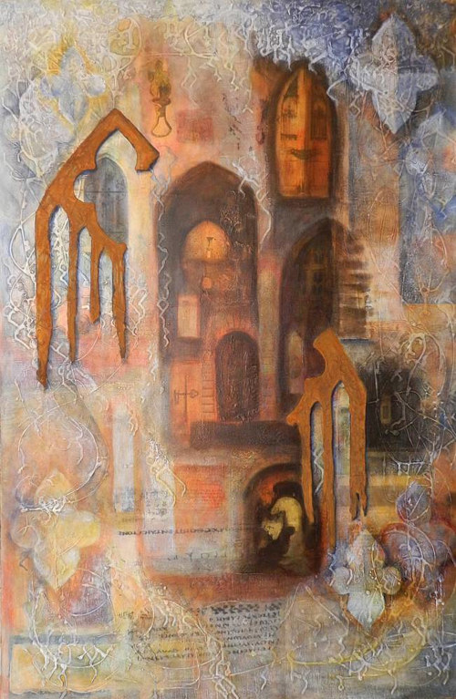 A mixed media artwork borrowing the forms of ornate doors