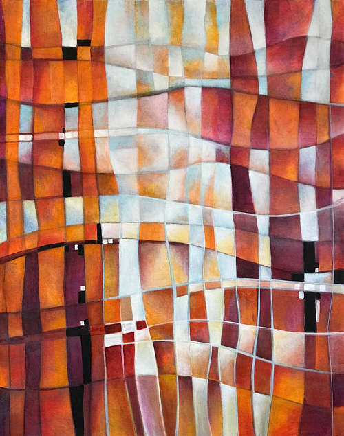 An abstract acrylic painting with warm orange hues
