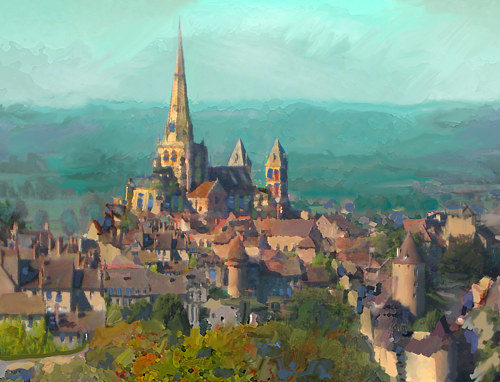 A digital painting of a town in Burgundy