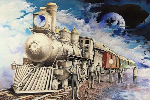 A mixed media artwork depicting a train in a fantasy scene