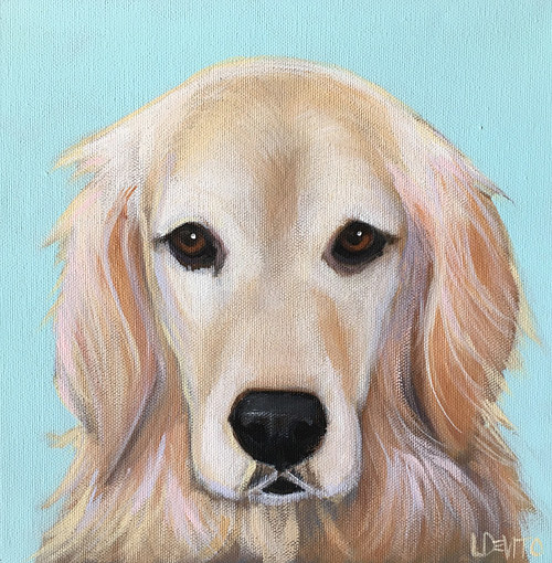 A painting of a golden retriever by Lesli Devito