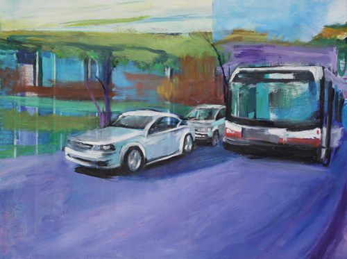 An oil painting of a car and a bus