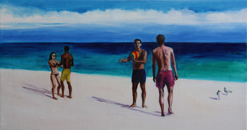 A painting of several figures at a beach