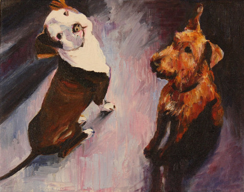 A painting of two dogs from an upward angle