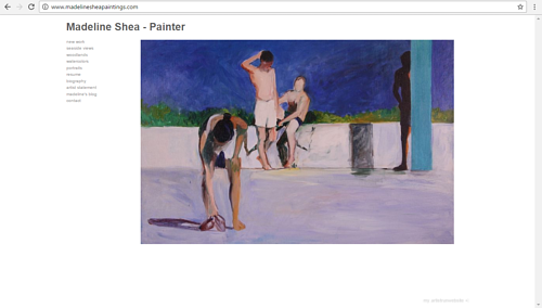 A screen capture of Madeline Shea's art website