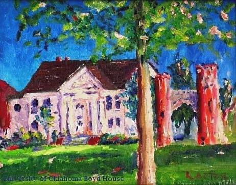A painting of a house at Oklahoma University