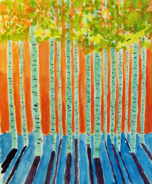A painting of a row of Aspen trees