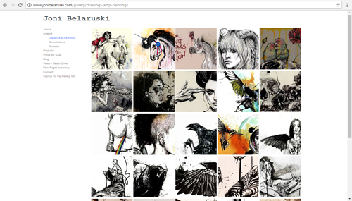 A screen capture of Joni Belaruski's online art portfolio