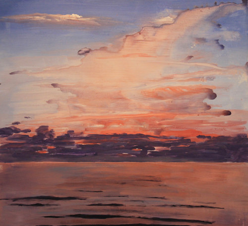 A painting of a beach at sunset
