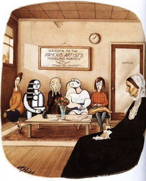 Illustration of various art figures in doctor's waiting room