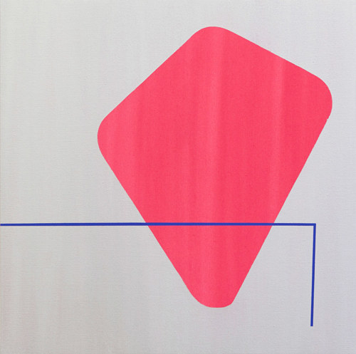A painting of pink geometric forms on a raw canvas background