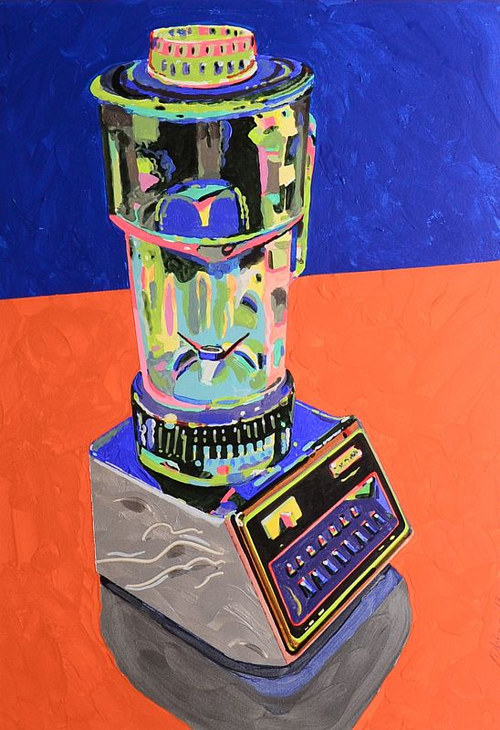 A painting of a blender rendered in bright colors