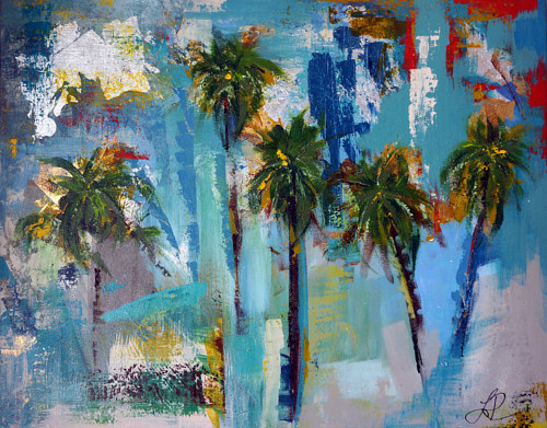 A mixed media artwork depicting palm trees on a beach