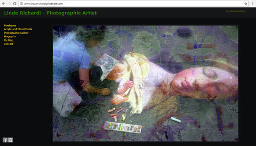 A screen capture of Linda Richardi's art website