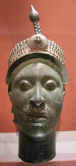 A photo of the Bronze Head from Ife, an ancient Nigerian sculpture