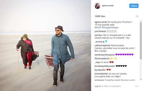A screen capture of Agnes Varda's Instagram page