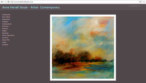 A screen capture of the front page of Anna Farrall Doyle's art website