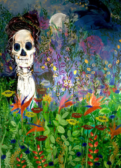 A painting of a skeleton in a floral field