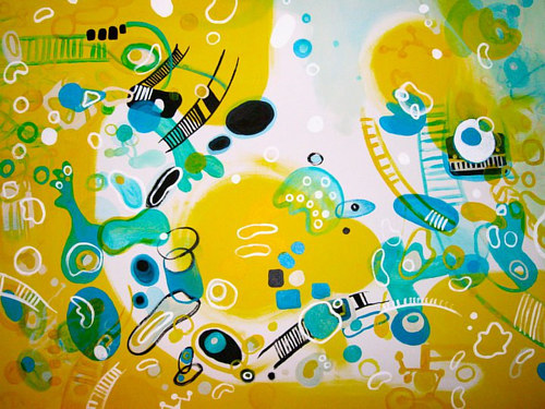 An abstract painting with bright yellow and blue tones