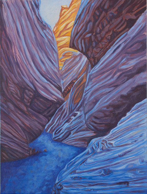 A painting of a desert rock formation in shadow