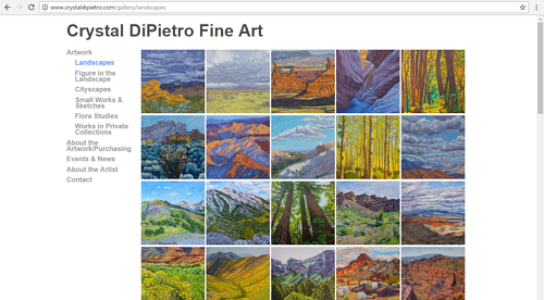 A screen capture of the landscape gallery on Crystal DiPietro's art website