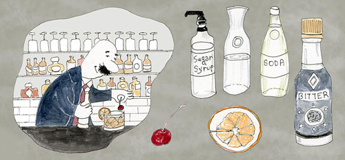 A drawing of a man creating a whisky cocktail