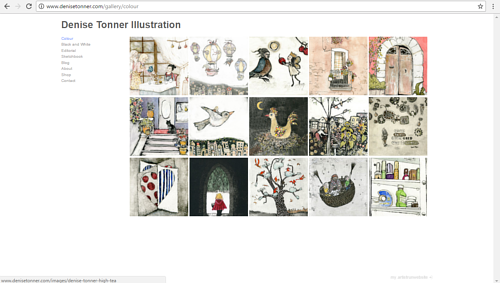 A screen capture of an illustration gallery on Denise Tonner's art website