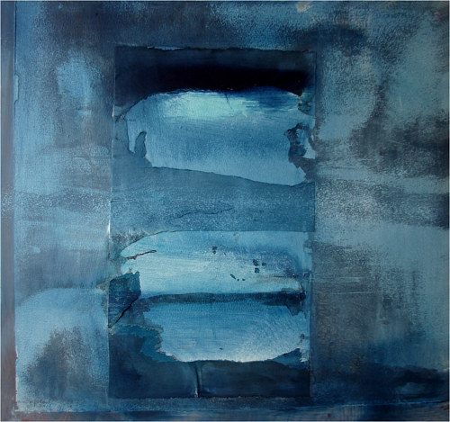 An abstract artwork made with washes of blue pigment