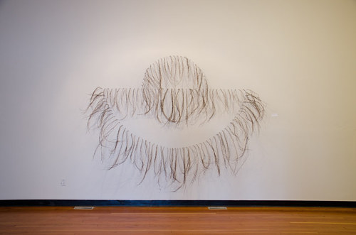A wall installation made from birch wood