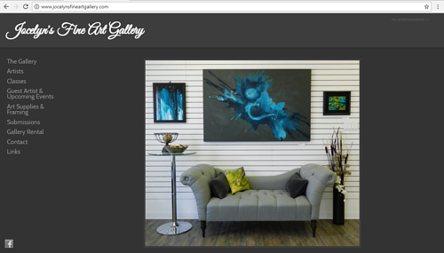 A screen capture of the main page of Jocelyn's Fine Art Gallery website