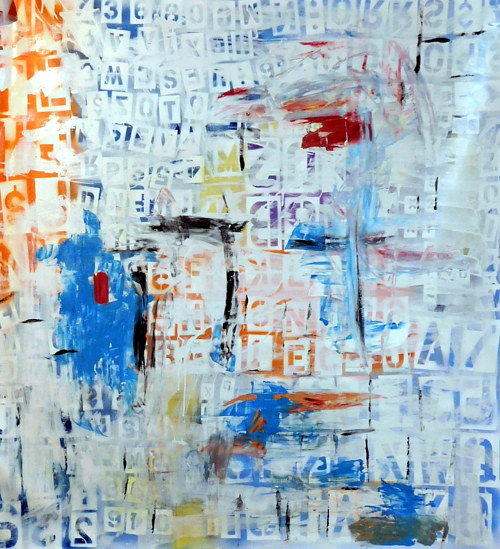 An abstract painting incorporating block letter forms
