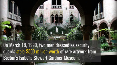 An information video still about the Gardner Museum Heist of 1990