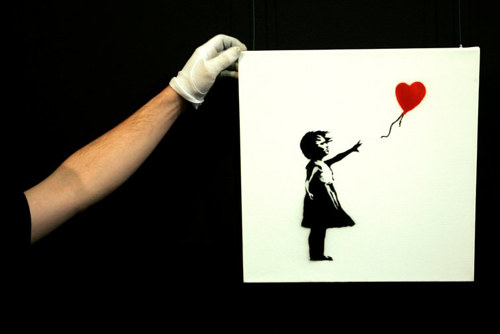 A photo of the 1975 work Banksy work Girl With Balloon