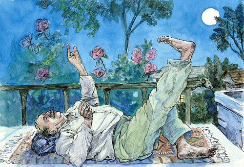 An illustration of a man laying on his back and looking at the sky