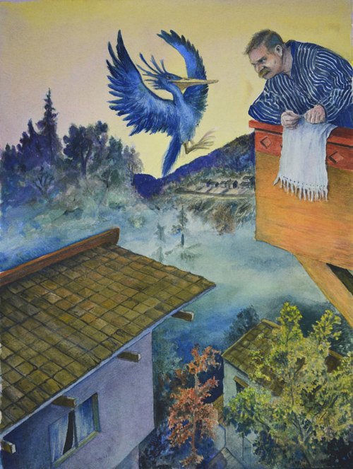 A watercolor painting of a man gazing down from a rooftop at  a blue bird